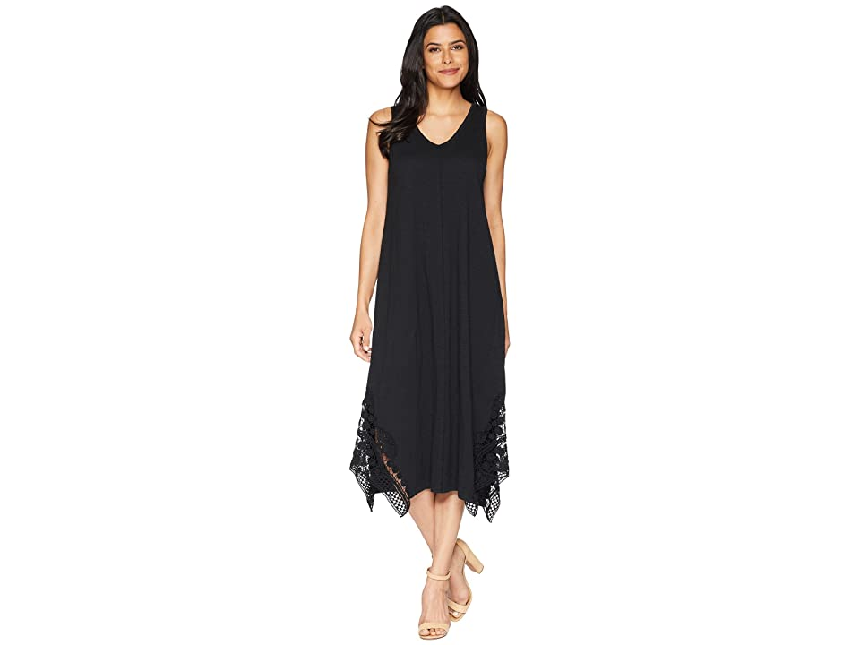 Mod-o-doc Heavier Slub Jersey Midi Tank Dress with Crochet Lace (Black) Women