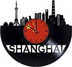 Shanghai China Record Wall Clock - Get unique of living room wall decor - Gift ideas for men and women – Beauty Town Unique Art Design