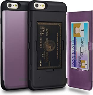 TORU CX PRO iPhone 6S Plus Wallet Case Purple with Hidden Credit Card Holder ID Slot Hard Cover & Mirror for Apple iPhone 6 Plus/iPhone 6S Plus - Lavender