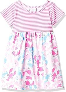 فستان Laya قصير الأكمام للفتيات الرضع من Flap Happy Baby Girls بعامل حماية من أشعة الشمس 50+ + مرسوم البحر الوردي، 2