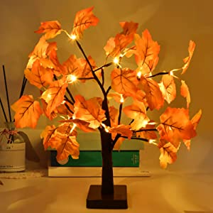 Fall Decor 18.5 Inch Artificial Fall Lighted Maple Tree with 24 LED Battery Operated Autumn Table Lights,Fall Decorations for Home Indoor Outdoor Harvest Thanksgiving Halloween Christmas Decor