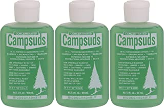 Sierra Dawn Campsuds Outdoor Soap Biodegradable Environmentally Safe All Purpose Cleaner, Camping Hiking Backpacking Travel Camp, Multipurpose Dishes Shower Hand Shampoo (2-Ounce, 3 Bottles)