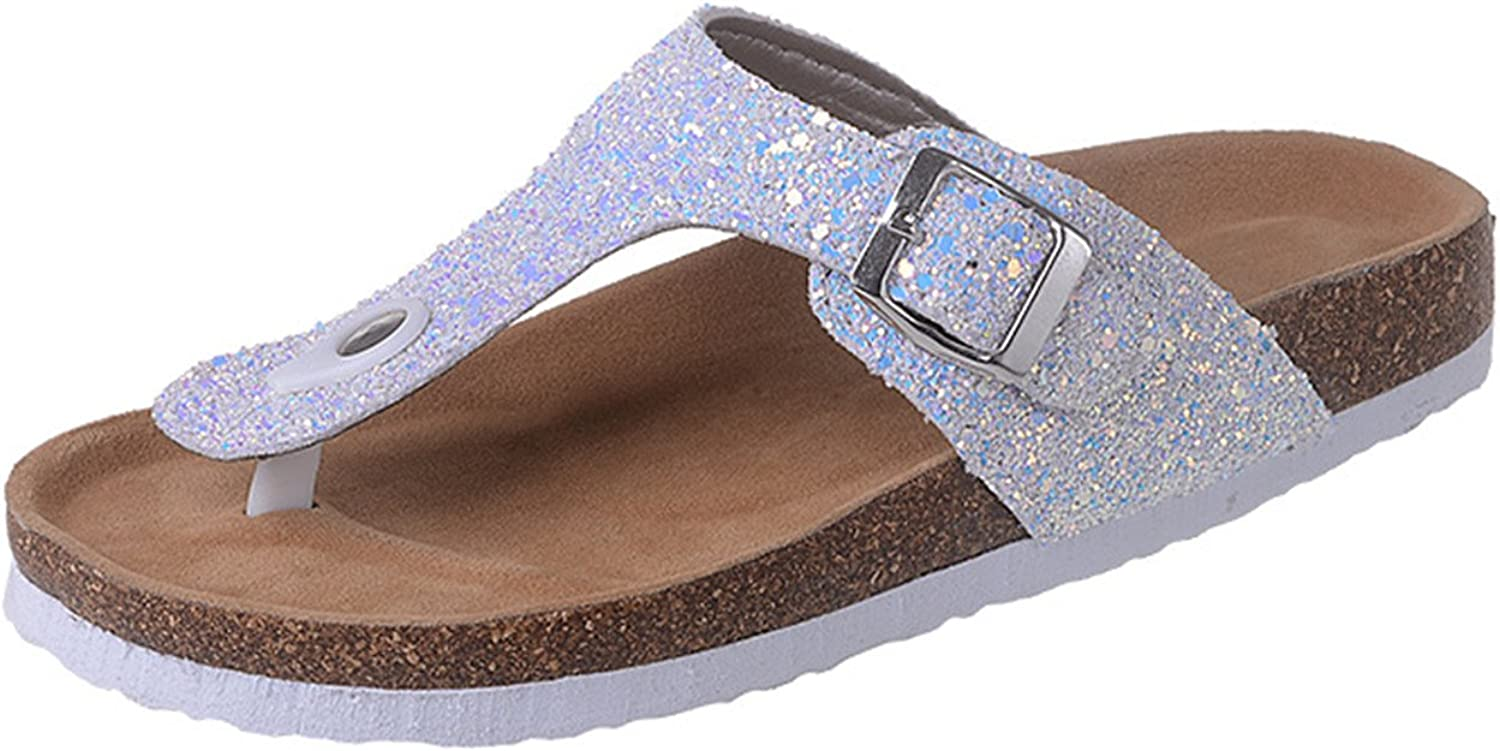 Joddie Haha Sandals Women's Summer New Lady Flat Bling Flip Flops Cork Sequin Slippers Beach Non-Slip Flip Flops Double Buckle Clogs Sandals