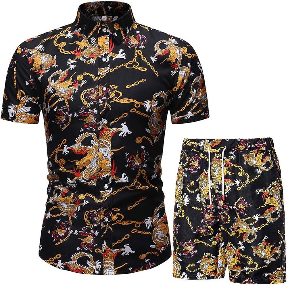 KISSQIQI Men's Flower 2 Piece Tracksuit Shirt Casual Hawaiian Short Sleeve Shirts and Pants Suit