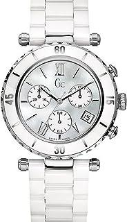 Gc Guess Collection Diver Chic Chrono - Reloj de Cuarzo para Mujer, con Correa de cerámica, Color Blanco
