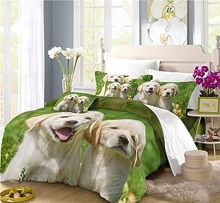 REALIN Fundas Nórdicas Perro Mascota Labrador Juego De Ropa De Cama Lindo Canino Colcha 2/3/4PCS Fundas De Edredón Nórdico/Almohada/Sábanas,para Cama 90/135/150/180 (Cama 135/140(200×200cm)-4PCS,C)