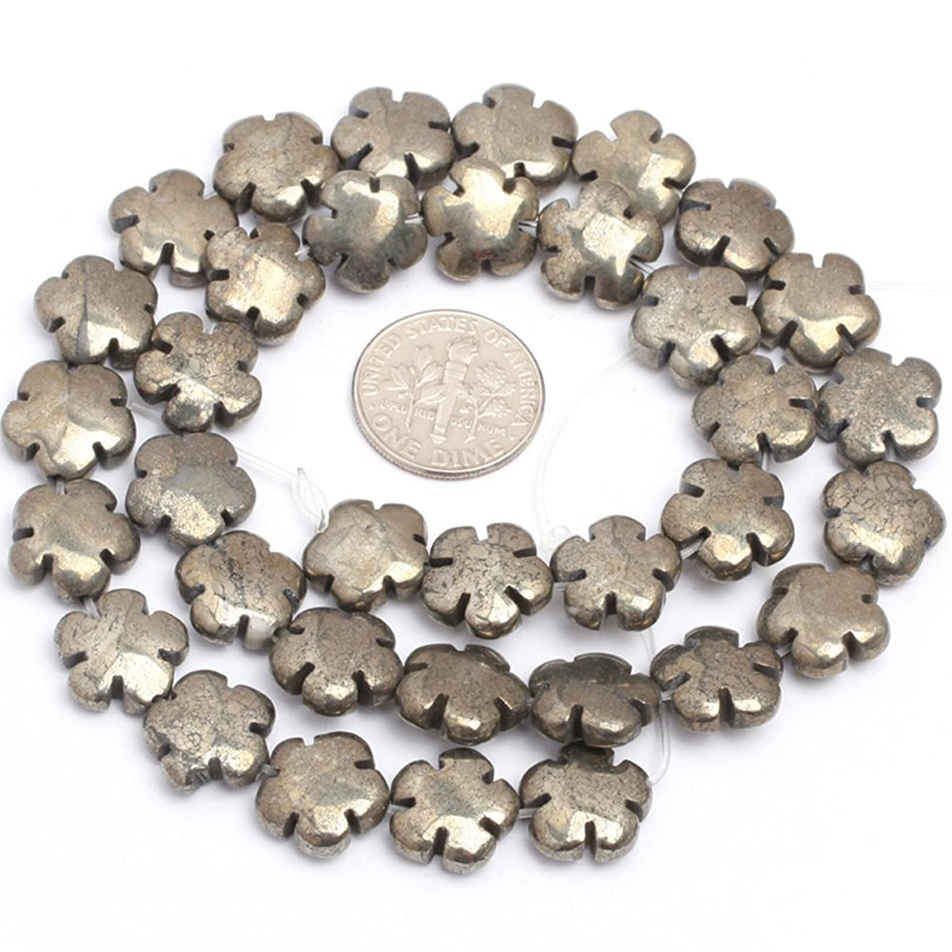 JOE FOREMAN 12mm Pyrite Semi Precious Gemstone Flower Loose Beads for Jewelry Making DIY Handmade Craft Supplies 15