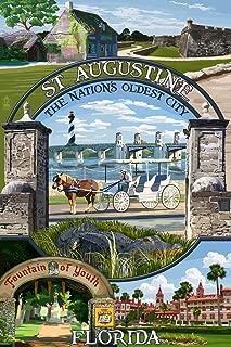 St. Augustine, Florida - Montage Scenes (9x12 Art Print, Wall Decor Travel Poster)
