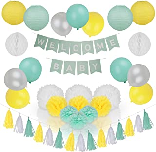 Spotlight Decor - Baby Shower Decorations Neutral for Boy or Girl Gender Reveal Baby Shower Decor kit with Welcome Baby Banner, Mint, Yellow & White Balloons, Paper Lanterns, Pom Poms and Garland. Uni