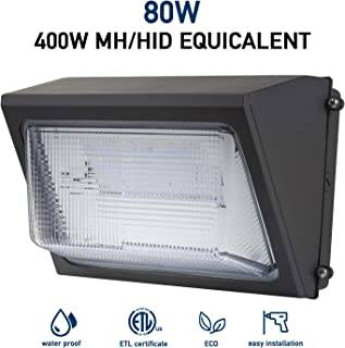 Led Wall Pack Light 80W 5000K Daylight 10,400LM Lifetime 50000H Ip65 Waterproof Outdoor Area Security Light 5 Years Warranty