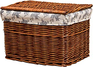 Hand-woven Laundry Basket, Natural Rattan Laundry Basket With Removable Liner Bag, Clothes Storage Basket With Lid, Large Capacity, Natural (Color : Brown, Size : S)