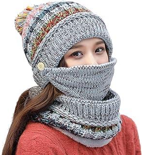 Ypser Fleece Lined Pom Pom Beanie Scarf Mask Set Winter Knit Hats for Women
