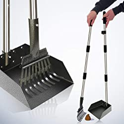 [2019 Upgraded] Metal Pooper Scooper Easy Pick Up Dog Poop Rake & Scoop Set with 37.4  Handle No Bending Partable Yard Poop Scooper Perfect for Small to Large Dogs