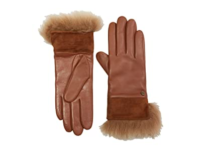 UGG Leather with Suede and Fur Cuff Tech Gloves (Chestnut) Extreme Cold Weather Gloves