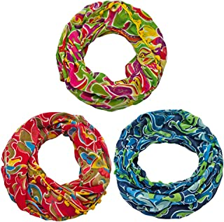 Sunsa women's scarf loop scarf scarf scarf women's gift ideas for women, girls scarves for women scarves made of cotton with flowers and modern design loop scarf gift girlfriend set of 3