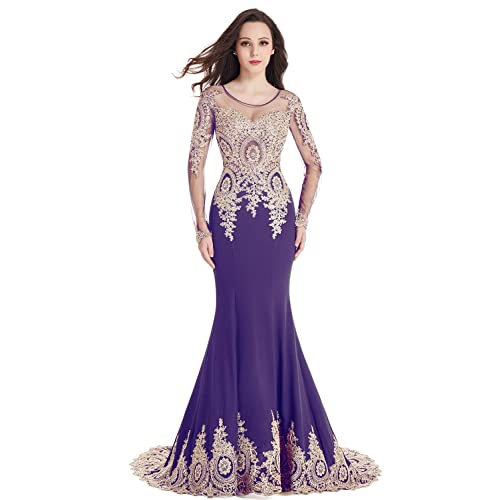 9953a354b61 MisShow Crystals Beaded Lace Mermaid Evening Dress for Women Formal