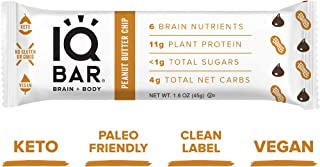 IQ BAR Brain + Body Bars, Peanut Butter Chip | Keto, Vegan | 11g Protein, <1g Sugar, 4g Net Carbs | Non-GMO, Gluten-Free, No Sugar Alcohols | 12-Count