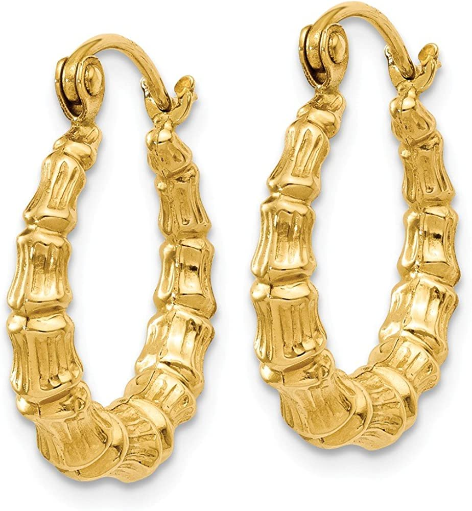 14k Yellow Gold Bamboo Design Hoop Earrings Ear Hoops Set Fine Jewelry For Women Gifts For Her