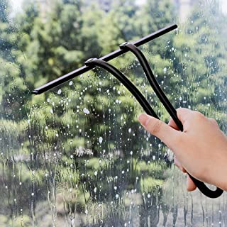AHDE Shower Squeegee Glass Squeegee Window Squeegee,All-Purpose Stainless Steel Shower Cleaner for Shower Doors, Bathroom,Kitchen,Window,Restaurant,Mirror and Car Glass(Black)