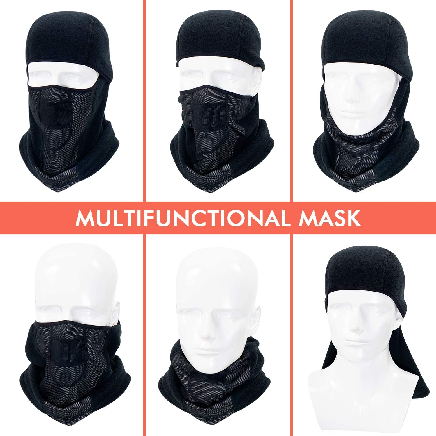 Plazenzon Balaclava Ski Mask Winter Face Mask for Motorcycle Cycling Windproof Fleece Full Face Cover for Cold Weather