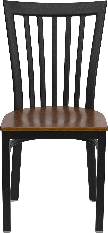 Flash Furniture HERCULES Series Black School House Back Metal Restaurant Chair - Cherry Wood Seat