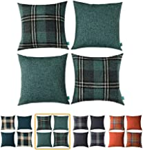 HOMEPLUS Set of 4 Linen Look Plaid Throw Pillow Cover Decorative Cushion Pillowcase for Bed Sofa Couch Car, 17X17, Teal