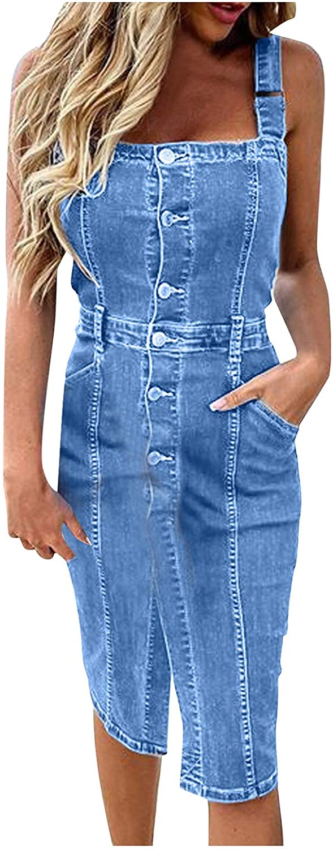 Euone_Clothes Summer Dress for Women, Women's Plus Size Button Casual V Neck Short Sleeve Dress Denim Faux Jean Dress