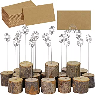 Supla 20 Pcs Rustic Wood Place Card Holders with Swirl Wire Wooden Bark Memo Holder Stand Card Photo Picture Note Clip Holders 5.8