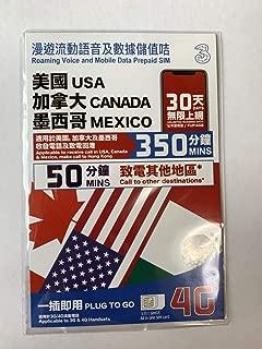 Three アメリカ/カナダ/メキシコ 音声付データプリペイドSIMカード / 30日 / 4GB 4G/LTEデータ(超えると128kbpsスピードでSNSのメッセージなど利用可能)/ アメリカ国内、カナダ、メキシコ(受信・発信)&香港(発信)通話350分、日本含める10カ国への国際通話が50分を使えます / 基本設定なし(モバイルデータオンとローミンオンだけ) / Three USA, Canada and Mexico Voice Data Prepaid SIM / 30days / 4GB 4G/LTE data / 350mins local US, Canada, Mexico voice calls and 50mins voice call to 10 countries including Japan / no APN Setting (just turn on Mobile data and roaming)