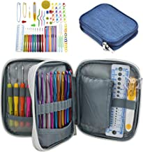 Katech 85-Piece Crochet Hooks Set, Crochet Needles Kit with Storage Case, Ergonomic Knitting Needle Weave Yarn Kits DIY Ha...