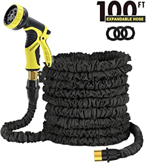 iHolamey Updated Lightweight 100ft Expandable Garden Hose Triple Layer Latex Core Magic Flexible Water Hose with 3/4Inch Solid Brass Ends and 9 Position Spray Nozzle Black (Black)