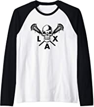 Skull & Crossbones Lacrosse Sticks Shirt American Lax Raglan Baseball Tee