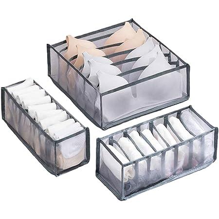 3Pcs Foldable Bra Underwear Closet Organizer Drawer Storage Divider Kit Wardrobe