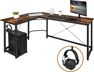 "AuAg L Shaped Computer Desk with Iron Hook, Modern L Shaped Corner Desk, 66"" Gaming Desk, PC Laptop Study Writing Table Workstation Desk for Home Office (66"" x 47.5"" x 29"", Rustic Brown)"