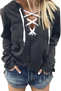 Women Long Sleeve Deep V Neck Lace Up Casual Hoodie Tops Blouse
