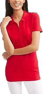 4f65c006e2f Time and Tru Women s Essential Short Sleeve Polo T-Shirt (Blue  Sapphire
