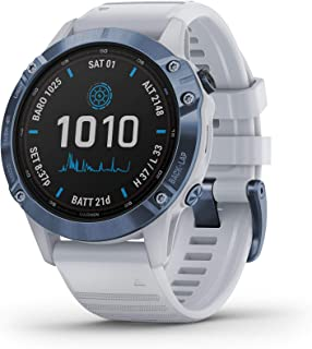 Garmin fēnix 6 Pro Solar, Solar-powered Multisport GPS Watch, Advanced Training Features and Data, Mineral Blue with White...