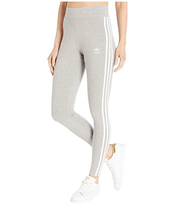 adidas Originals  3 Stripes Tights (Medium Grey Heather/White) Womens Workout