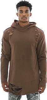 Jordan Craig Men's French Terry Trashed Longline Hoodie Sweatshirt