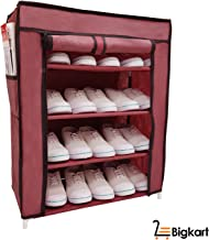 BigKart Multi Purpose Foldable Shoe Rack Cabinet Organiser 4 Shelves, Dust Proof, Maroon (Iron and Non Woven Fabric)