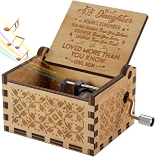 Engraved Music Box - You are My Sunshine, Gift for Daughter from Mom - You Are Stronger Than You Seem (B - From Mom)