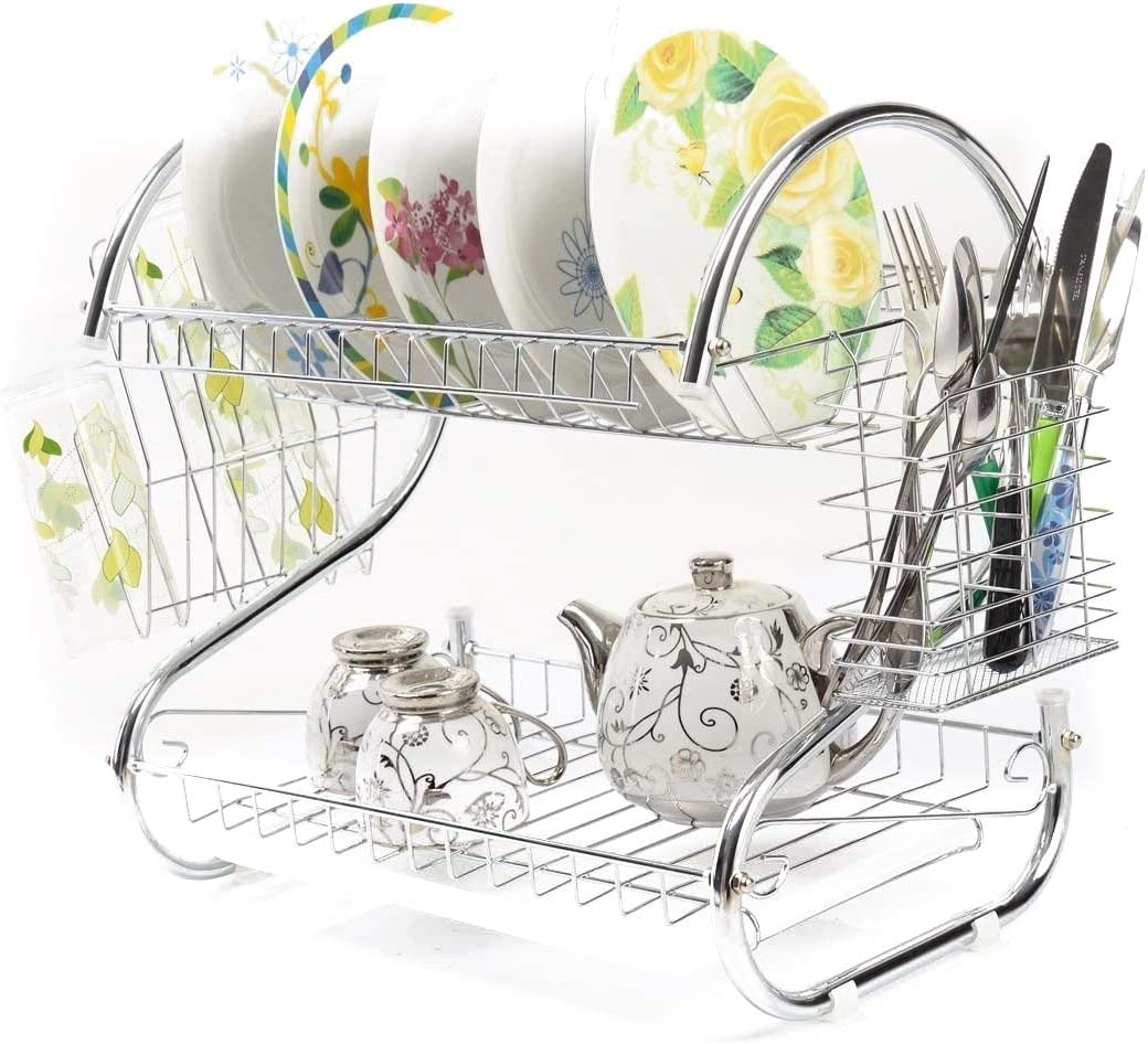 Dish Drying Rack 期間限定今なら送料無料 Kitchen 2 Tier Rust お気にいる Large P Bowls Draining