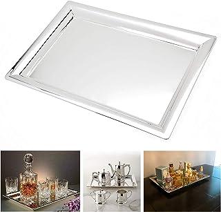 Le'raze Elegant Mirrored Rectangular Silver Tray, Mirrored Tray for Whiskey..