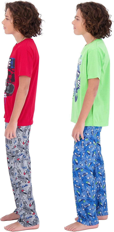 Sleep On It Boys Pajamas Pant and T-Shirt Sets 4 Piece Summer Pajama Bottom and Sleep Shirt Sleepwear Sets for Kids