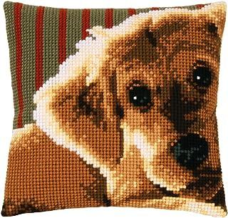 Vervaco Cojín de Punto de Cruz Perro, Mezcla de algodón, Colores Variados, 32.6 x 5 x 32 cm