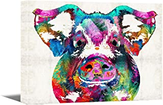 Canvas Wall Art -Colorful Pig Pet Painting -12