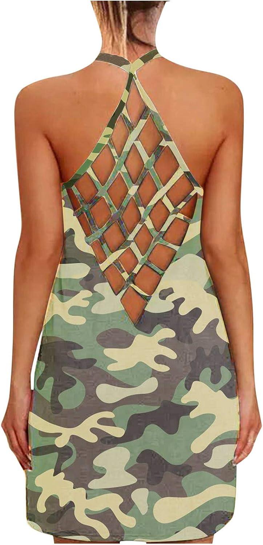 Boho Dress for Women Short,Women Summer Casual Sleeveless Halter Dresses Criss Cross Hallow Out Mesh Mini Dress