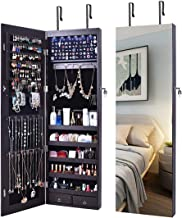 AOOU Jewelry Organizer Jewelry Cabinet,Wall Mounted Jewelry Organizer with Mirror, Full Length Mirror,Large Capacity Dressing Makeup Jewery Mirror Jewelry Armoire,Brown