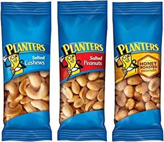 PLANTERS Variety Packs (Salted Cashews, Salted Peanuts & Honey Roasted Peanuts), 36 Packs | Individual Bags of On-the-Go N...