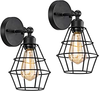 Licperron 2 Pack Black Industrial Wall Sconces, Vintage Metal Wall Light Fixture for Headboard Bedroom Nightstand Porch an...